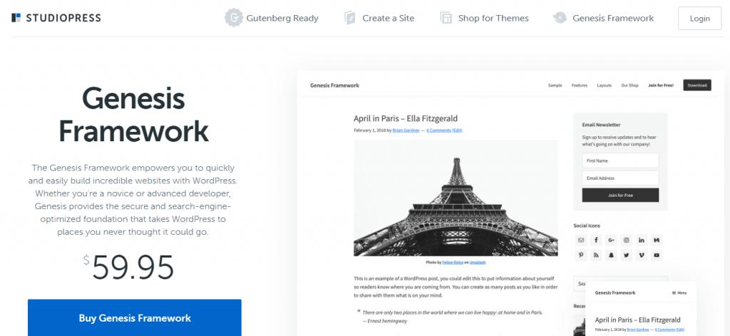 Genesis Framework by Studio-press - The Best WordPress Multipurpose Theme.