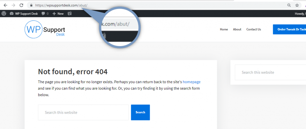 404 error due to mistake is URL