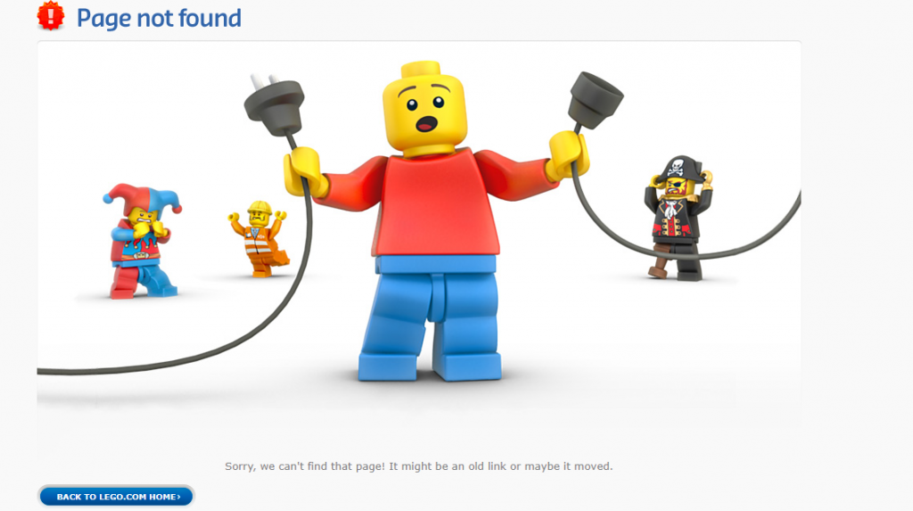 lego website's 404 page