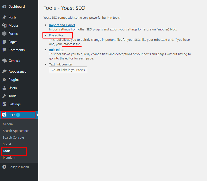 Editing .htaccess file with Yoast SEO