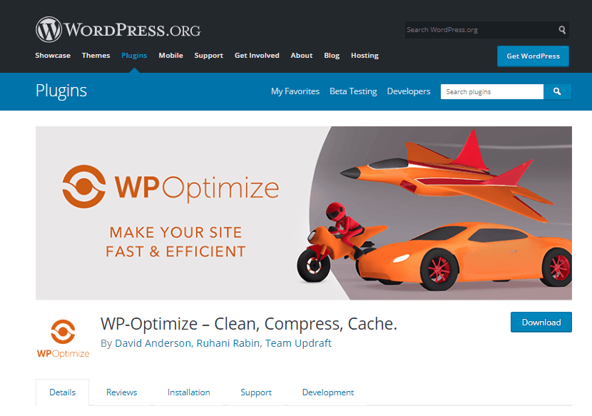 WP optimize plugin