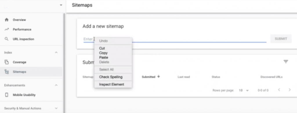 Add your URL to Google search console