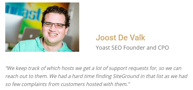 Joost De Valk review on Siteground