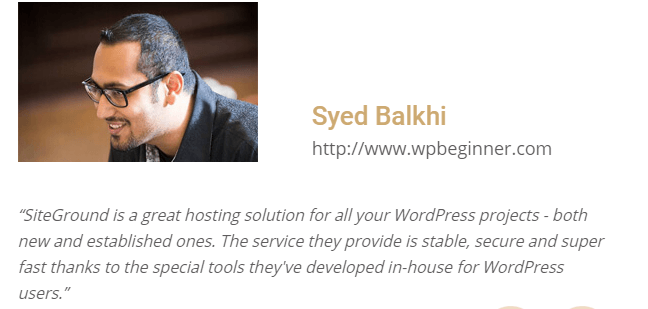 Syed balkhi's review on Siteground