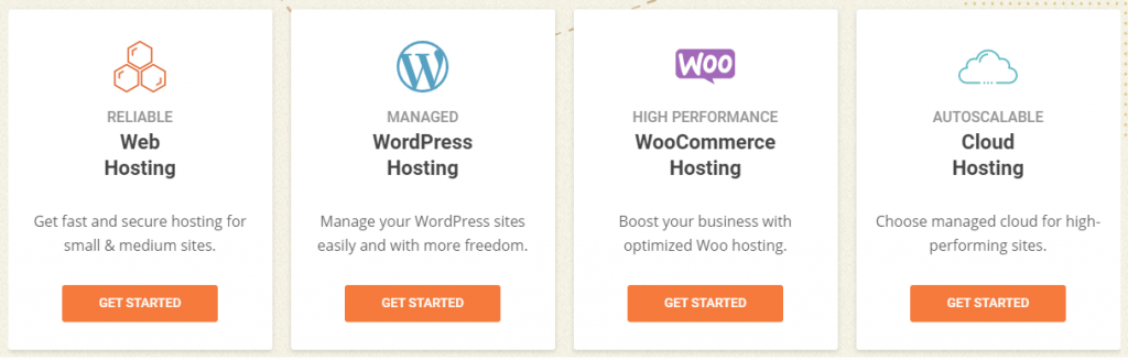 Different types of  hosting by Siteground