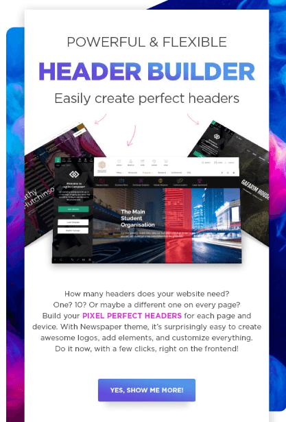 Newspaper's Flexible & powerful header builder