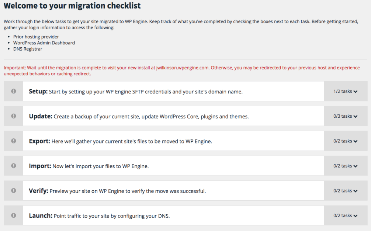 WP Engine website migration checklist