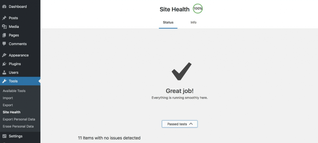 Site health tool from dashboard