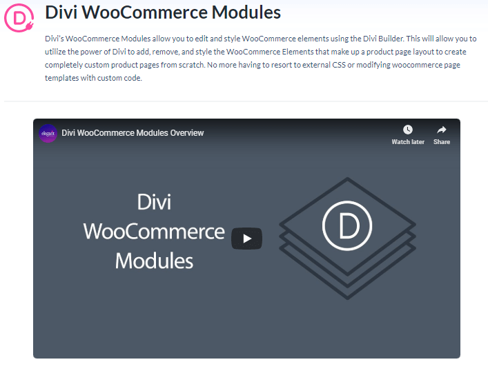 Divi WooCommerce Modules