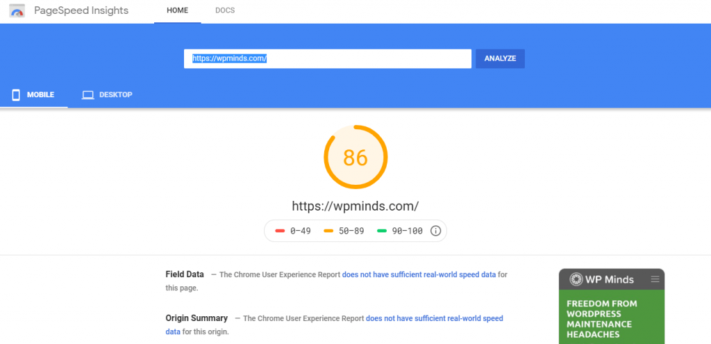 Google PageSpeed Insights -speed test tool