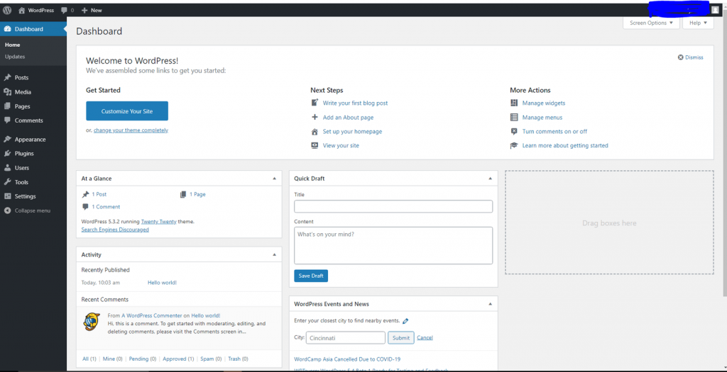 WordPress dashboard on local host