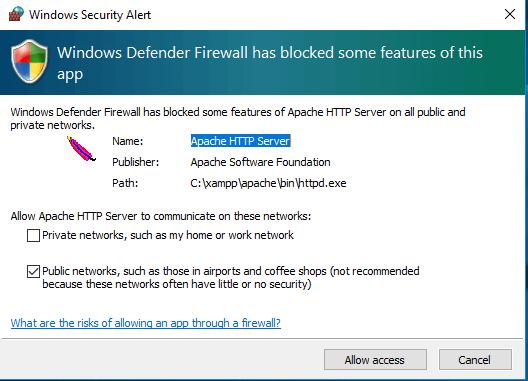 Configure XAMMP settings