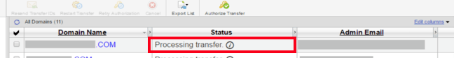 transferring domain