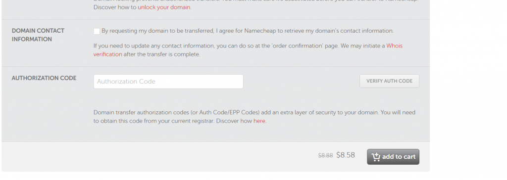 enter authentication code to transfer domain