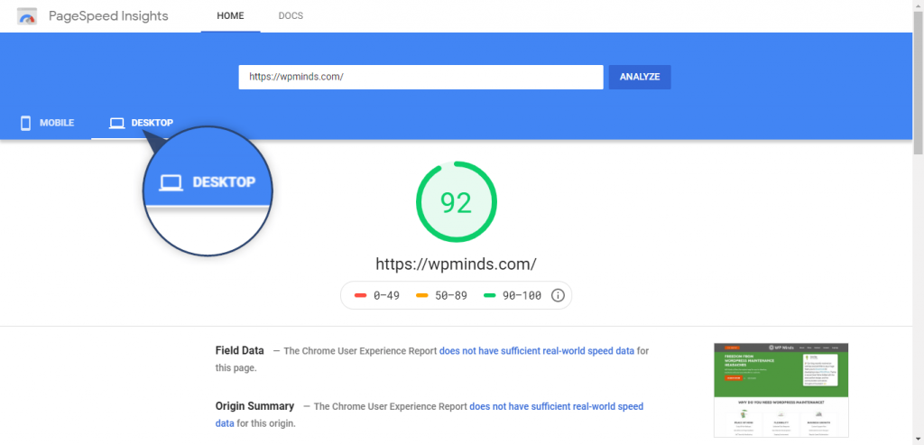 Google PageSpeed Insights - To check WordPress Speed.