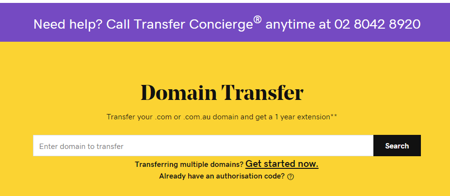 go daddy domain transfer page