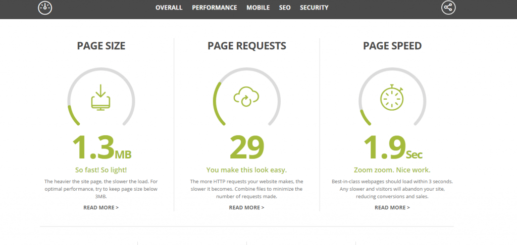 website grader to improve WordPress speed.