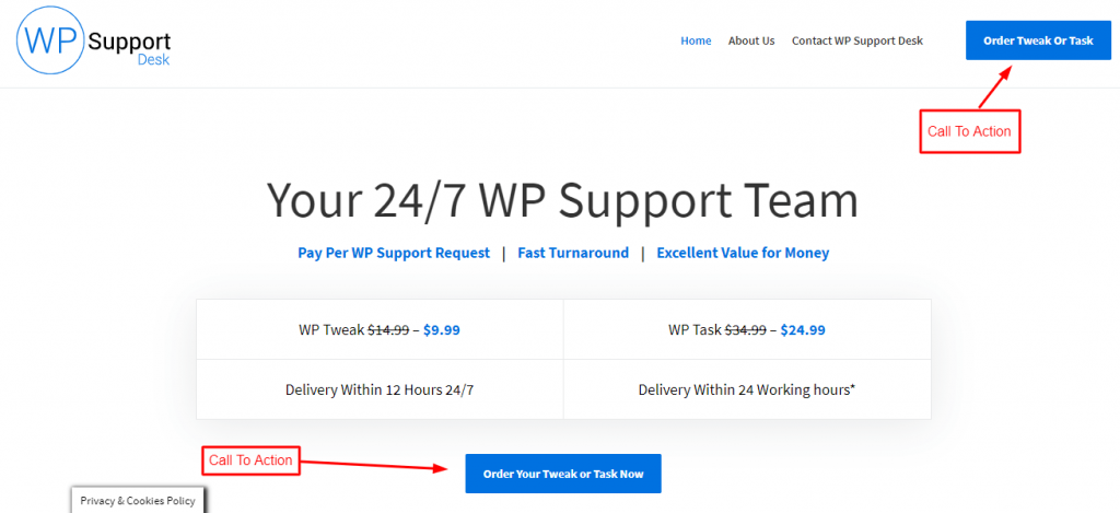 call to action button on WPsupportdesk website