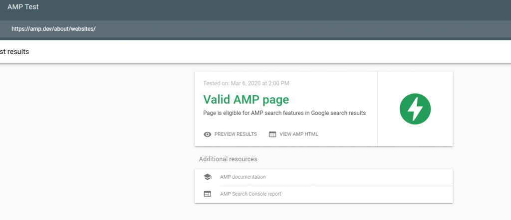 WordPress website AMP Compatibility check