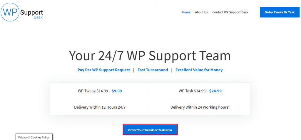 roll over button on WPsupportdesk's home page