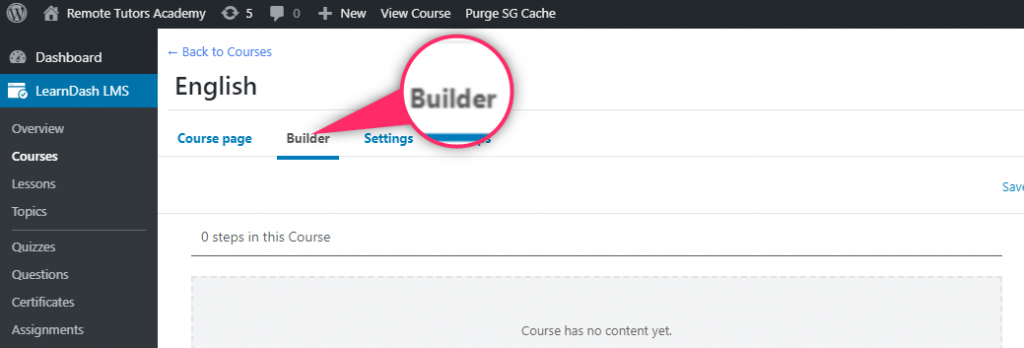 move to the builder tab to create your online course