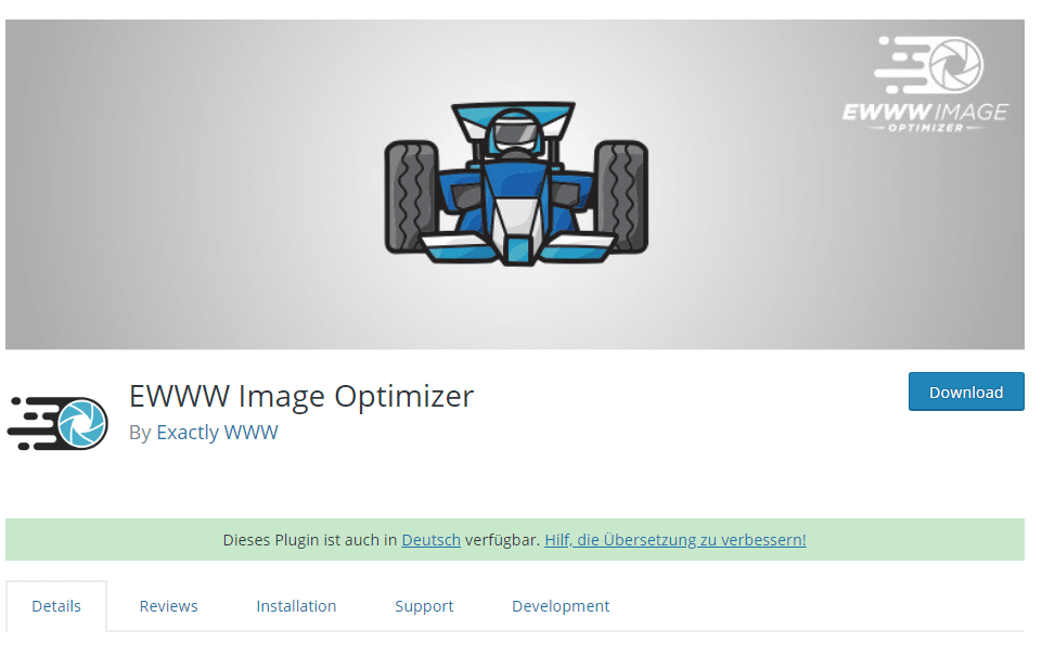 EWWW Image Optimizer plugin to optimizer images in WordPress