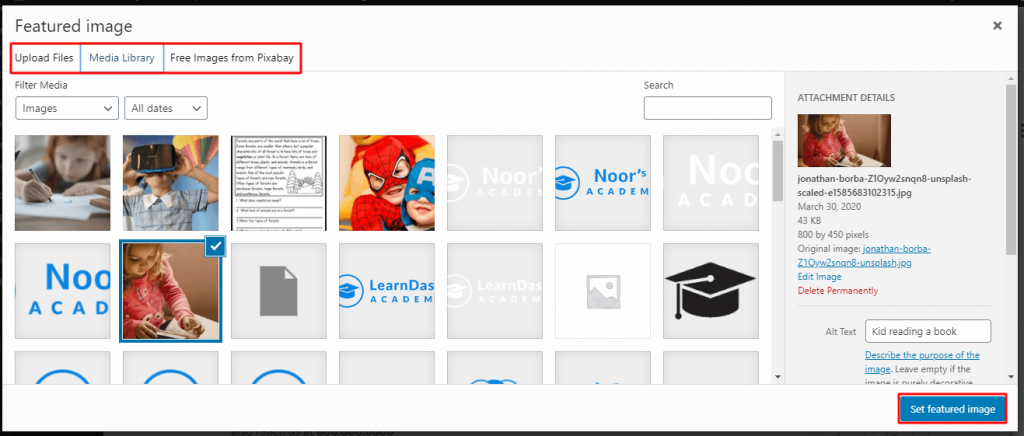 select a featured image for your online course