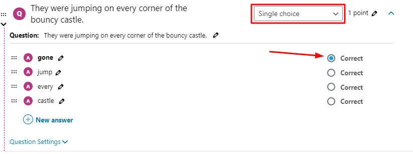 adding single choice questions for your online classes