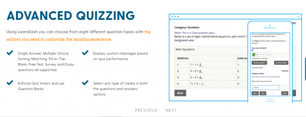 advanced quiz feature for your online classes with LearbDash