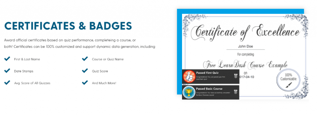 certificate and badges option to your  online class