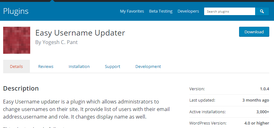use Easy Username Updater to update the username