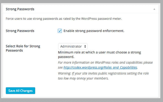 step 4- WordPress security checklist, enforce strong WordPress Passwords