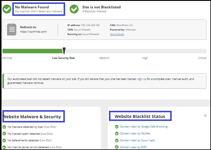 Sucuri SiteCheck Scanner tools for scanning your website.