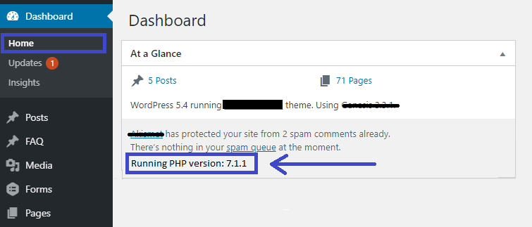 Update WP PHP version