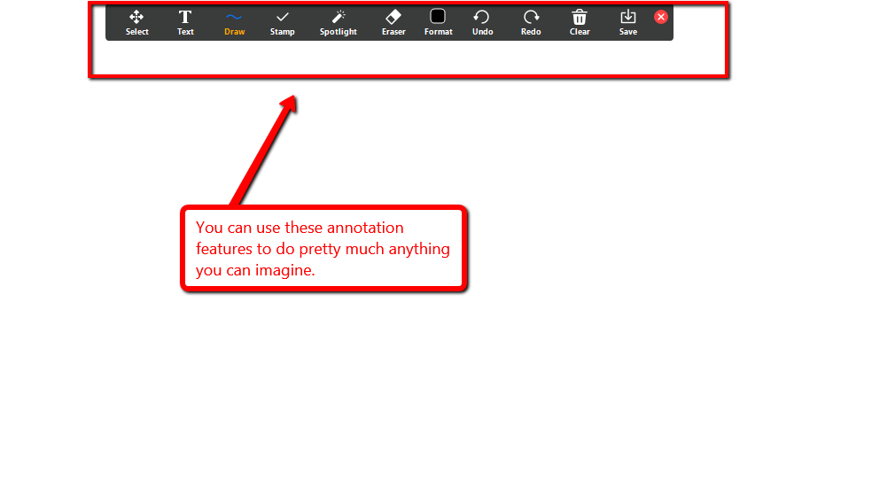 Zoom whiteboard and annotation feature