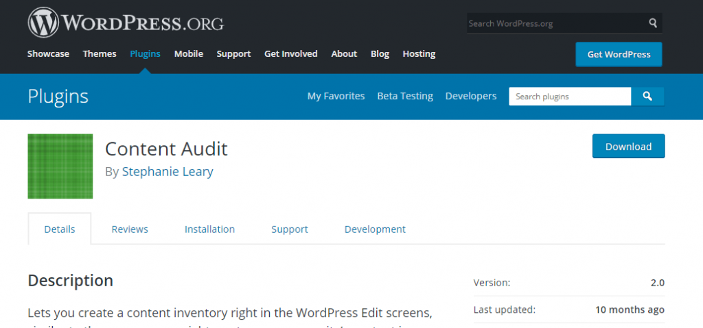 WordPress site content audit plugin