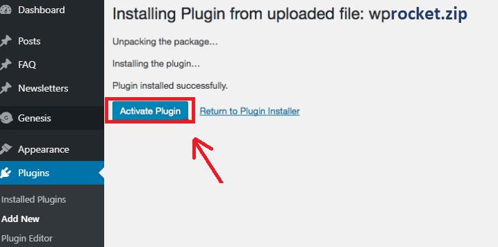 Activate WP rocket plugin