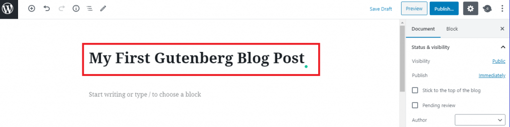 Adding post title in Gutenberg
