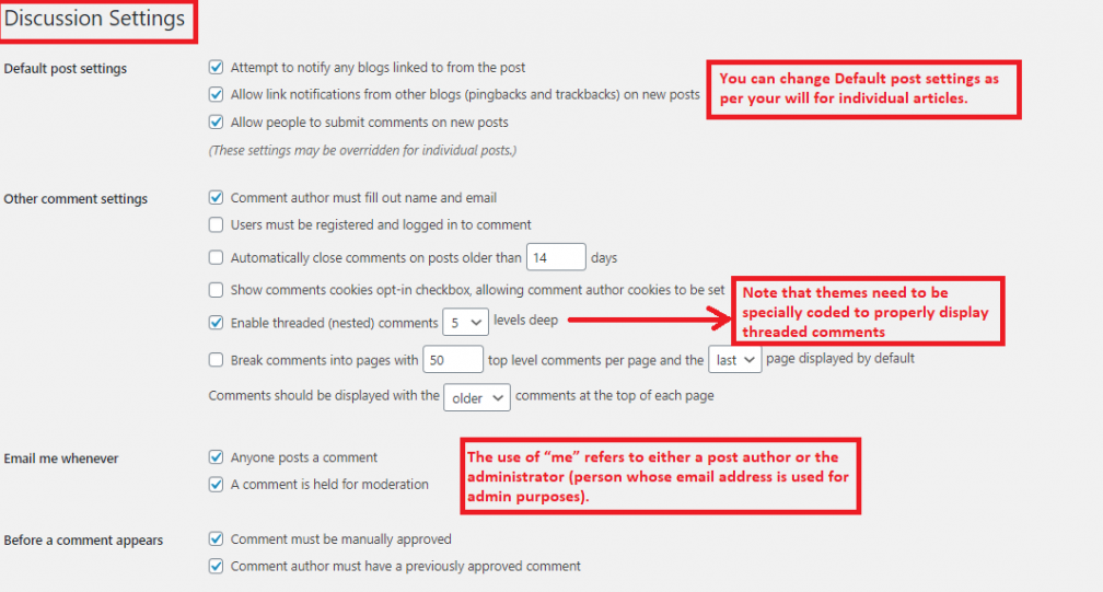 Adjust commenting settings in WP
