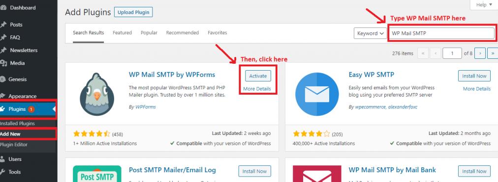 Installing WP Mail SMTP plugin