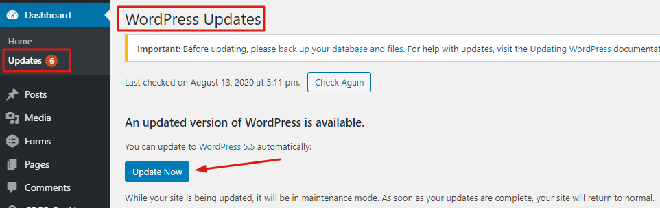step- 1 WordPress security checklist- WordPress Updates