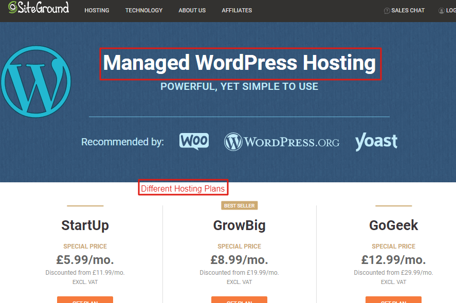 Managed WP hosting plans with siteground