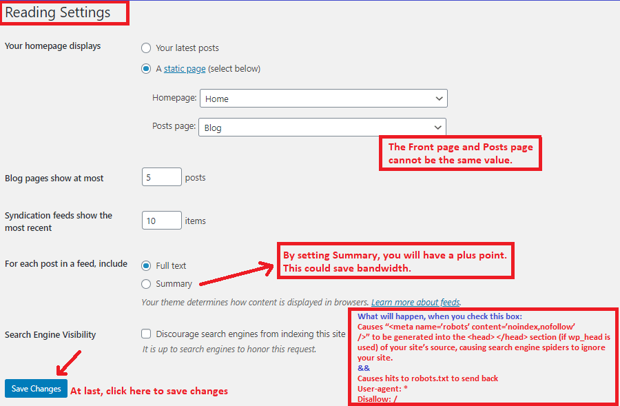 Adjust Reading settings in WP