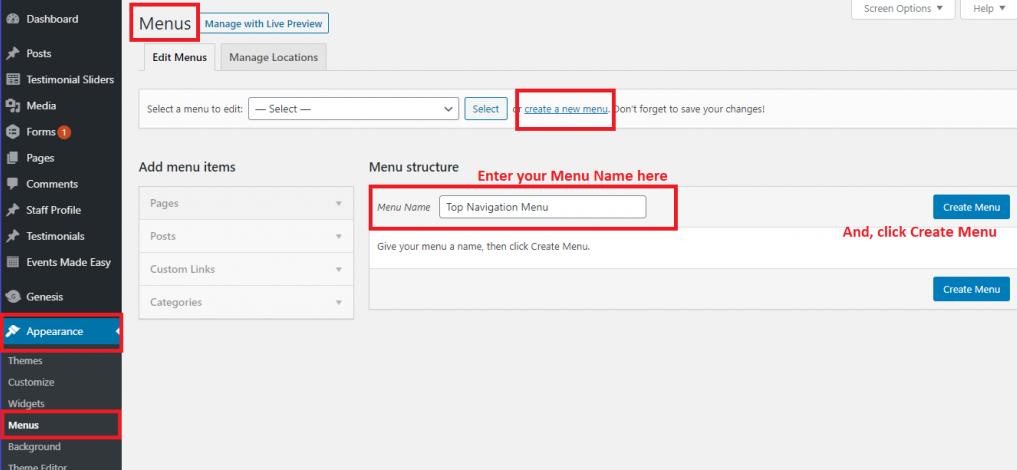 How to create a menu in WordPress from scratch