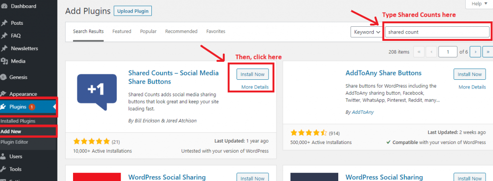 How to install Shared Counts plugins