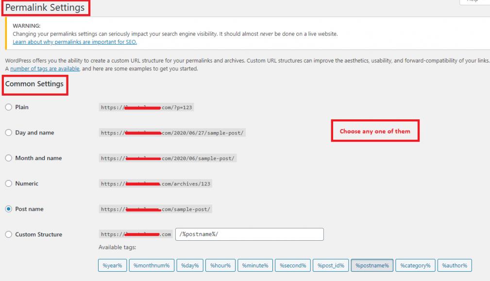 permalink settings in WP