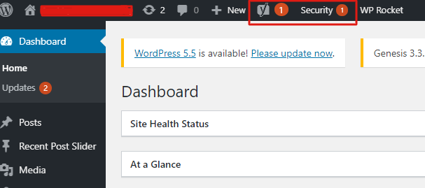 step - 2 WordPress security checklist- check notification in the WordPress dashboard