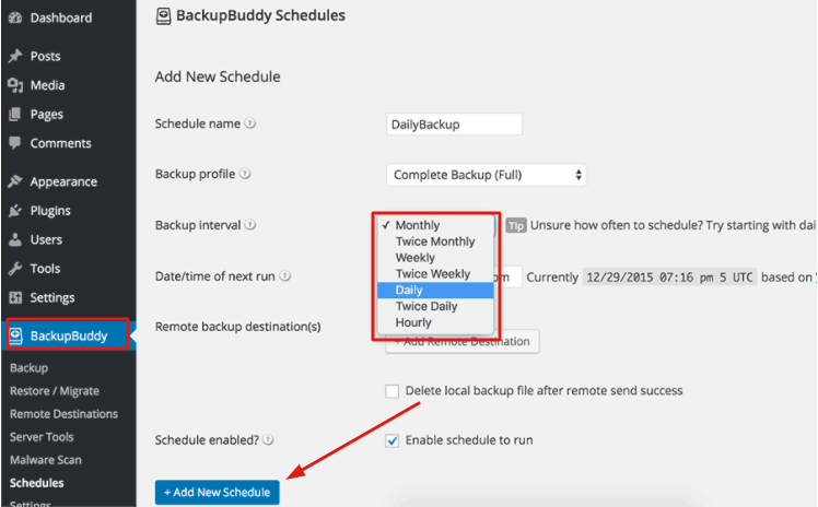 schedule automatic backups with backup buddy