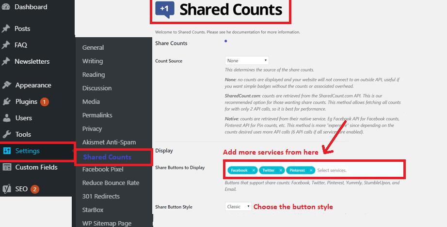 Update Shared counts plugin settings