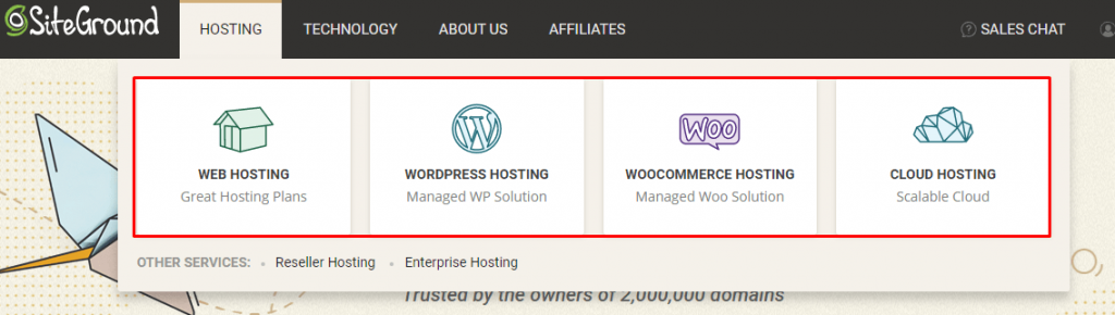 siteground hosting options